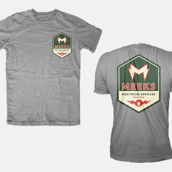 Meeks Electrical services logos on grey t-shirts